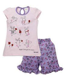 Tiny Bee Cap Sleeve Tee & Shorts Set - Pink & Lilac