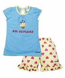 Tiny Bee Cap Sleeve Cupcake Tee & Shorts Set - Turquoise & Yellow