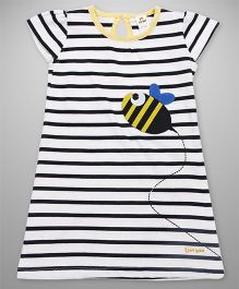 Tiny Bee A-Line Dress With Stripes - White