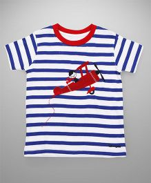Tiny Bee Basic Tee For Boys - Blue & White