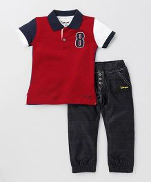 Tiny Bee Boys Polo Tee With Pants - Red & Black