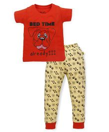 Tiny Bee Boys Half Sleeve Tee & Cuff Pyjama Set - Orange & Yellow