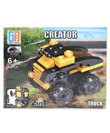 Sunny Building Blocks 2 In 1 Pullback Construction Truck Yellow Black - 43 Pieces