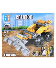 Sunny Building Blocks 2 In 1 Pullback Construction Bulldozer Yellow Black - 48 Pieces