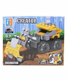 Sunny Building Blocks 2 In 1 Pullback Excavator Yellow Black - 44 Pieces