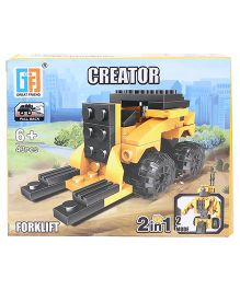 Sunny Building Blocks 2 In 1 Pullback Construction Forklift Yellow Black - 43 Pieces