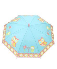 Babyhug Baby Umbrella Owl Print - Aqua Green
