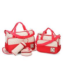 Mother Bag Set Dot Print Pack of 5 - Cream Red