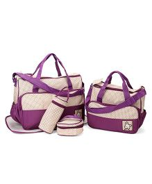 Mother Bag Set Dot Print Pack of 5 - Cream Purple