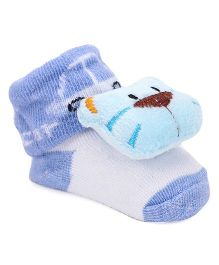 Cute Walk by Babyhug Sock Shoes Kitty Applique - Sky Blue