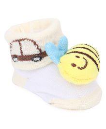 Cute Walk by Babyhug Socks Style Shoes Fish Applique - Cream