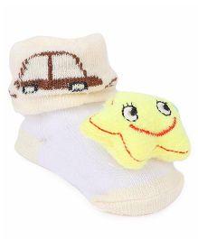 Cute Walk by Babyhug Socks Style Shoes Star Applique - Cream