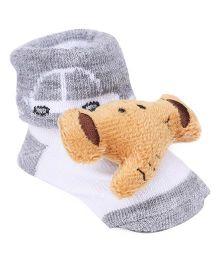 Cute Walk by Babyhug Socks Style Shoes Elephant Applique - Grey