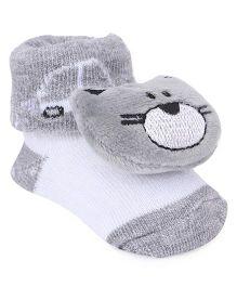 Cute Walk by Babyhug Socks Style Shoes Cat Applique - Grey
