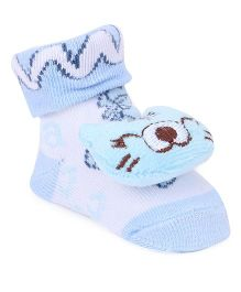Cute Walk by Babyhug Socks Style Shoes Cat Applique - Blue