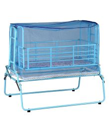 Genuine Industries Pendulum Cradle With Mosquito Net With Metal Mesh Base - Sky Blue