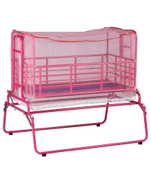 Genuine Industries Baby Pendulum Cradle With Mosquito Net With Metal Mesh Base - Pink