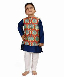 Raghav Lotus Printed Chanderi Nehru Koti - Orange