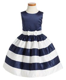 Fairy Dolls Striped Party Wear Dress With Bow - Blue & White