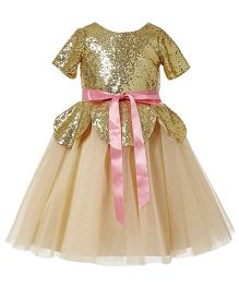 Fairy Dolls Sequin Bodice Dress With Satin Bow - Cream & Gold