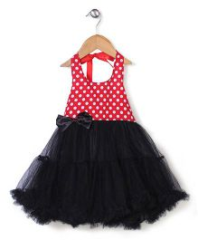 Fairy Dolls Polka Dot Summer Dress With Bow & Back Tie Up - Red & Black