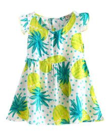 Funky Baby Cap Sleeve Pineapple Summer Shift Dress - Multicolor