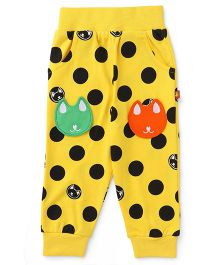 Wow Clothes Track Pants With Kitty Patch - Yellow
