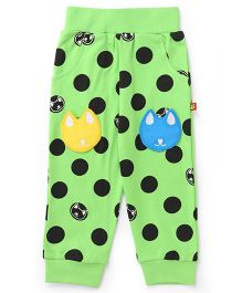 Wow Clothes Track Pants With Kitty Patch - Green