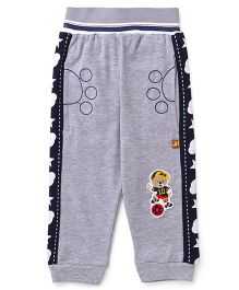 Wow Clothes Track Pants Bear Patch - Grey And Blue