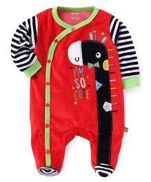 WOW Clothes Full Sleeves Footed Romper With Doggy Face Patch - Red