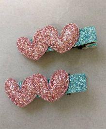 Tiny Closet Sparkling Heart Applique Alligator Clip Set Of 2 - Baby Pink
