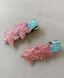 Tiny Closet Sparkling Star Applique Alligator Clip Set Of 2  - Baby Pink
