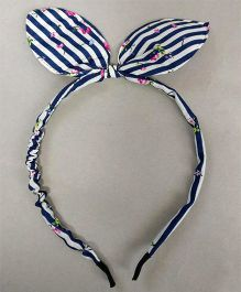 Tiny Closet Floral Hair Band With Bow - Navy Blue & White