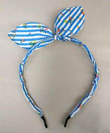 Tiny Closet Floral Hair Band With Bow - Sky Blue & White