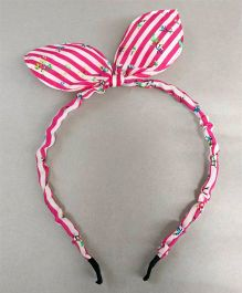 Tiny Closet Floral Hair Band With Bow - Hot Pink & White