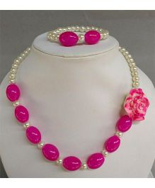 Tiny Closet Pearl Necklace & Bracelet Set - Hot Pink