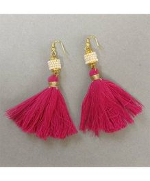 Tiny Closet Pair Of Tassle Earrings - Pink