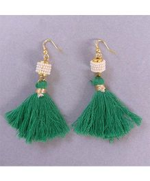Tiny Closet Pair Of Tassle Earrings - Green