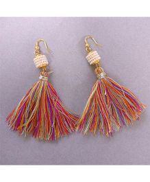 Tiny Closet Pair Of Tassle Earrings - Multi Color