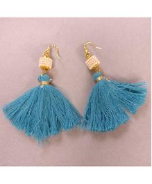 Tiny Closet Pair Of Tassle Earrings - Blue