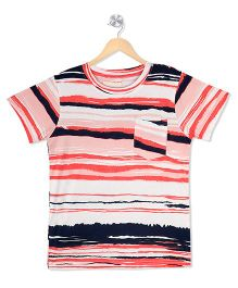 Raine And Jaine Wave Print Front Pocket Tee - Multicolor