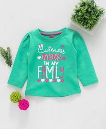 Babyhug Full Sleeves Top Caption Print - Mint Green