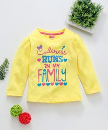 Babyhug Full Sleeves Top Caption Print - Yellow