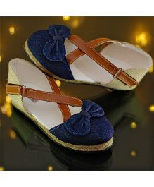 D'Chica High Fashion Cross Design Denim Shoes With Bow - Blue & Brown