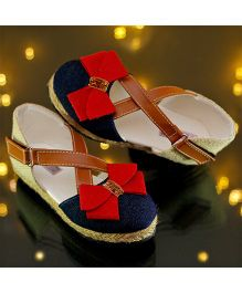 D'Chica High Fashion Cross Design Denim Shoes With Bow - Multicolor