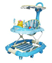 Sunbaby Musical Baby Walker Cum Rocker With Push Handle - Blue White