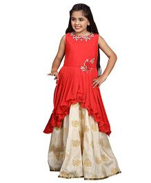 Betty By Tiny Kingdom Pretty Floral Applique Gown - Red & Beige