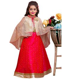 Betty By Tiny Kingdom Beautiful Gown With Cape- Rani Pink