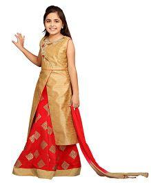 Betty By Tiny Kingdom Long Kurta With Ghagra And Dupatta - Red