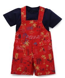 Jash Kids Dungaree With Inner Tee Allover Printed - Red & Navy